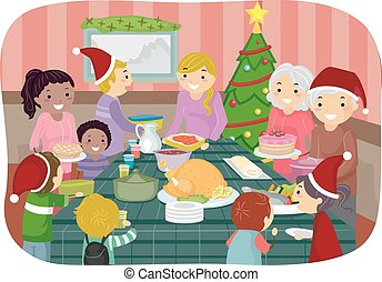 Stickman Christmas Party - Illustration of Family Friends ...
