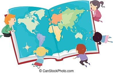 stickman, cielna, dzieciaki, mapa, ilustracja, książka