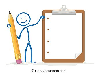 Stickman Clipboard - Stickman with pencil and clipboard on...