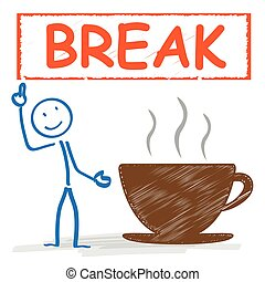 Stickman Coffeecup Break - Stickman with with coffee cup and...