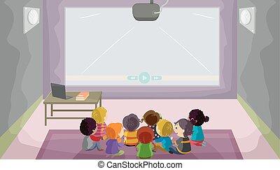 stickman, crianças, áudio visual, sala, ilustração