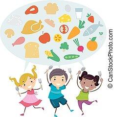 stickman, crianças, alimento saudável, colher, garfo, ilustração