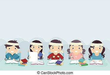 stickman, crianças, amontoar, escola, borda, ilustração
