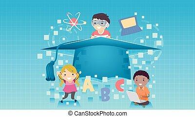 stickman, crianças, aprendizagem, graduado, ilustração
