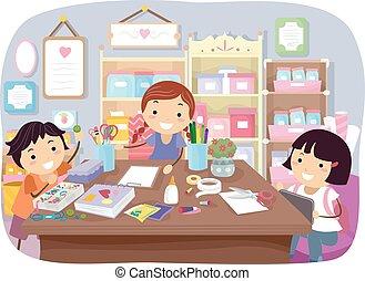 stickman, crianças, arte, sala
