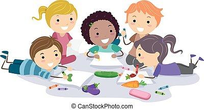 stickman, crianças, arte, veggies, ilustração