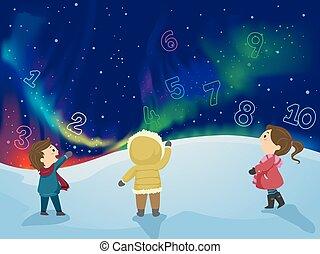 stickman, crianças, aurora boreal, números
