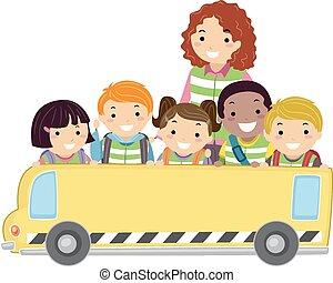 stickman, crianças, autocarro, bandeira