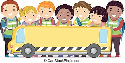 stickman, crianças, autocarro escolar, bandeira