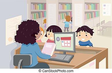 stickman, crianças, biblioteca, empréstimo, livro, ilustração