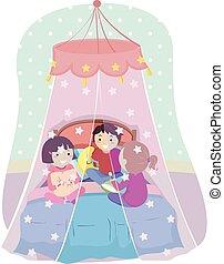 stickman, crianças, cama, rede, ilustração