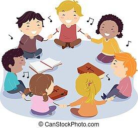 stickman, crianças, cantando, elogio, ilustração