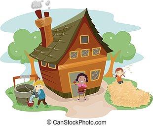 stickman, crianças, casa fazenda