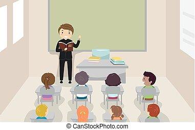 stickman, crianças, classe, padre, bíblia, ilustração