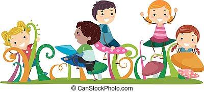 stickman, crianças, cogumelos
