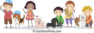 stickman, crianças, com, animal estimação, cachorros