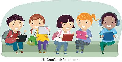 stickman, crianças, com, tabuleta, computadores, em, escola