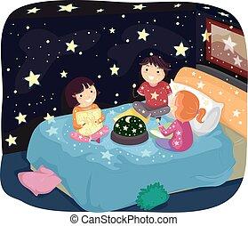 stickman, crianças, constelação, lâmpada, luz, sala