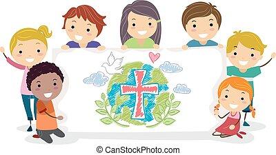 stickman, crianças, cristãos, grupo, bandeira, ilustração