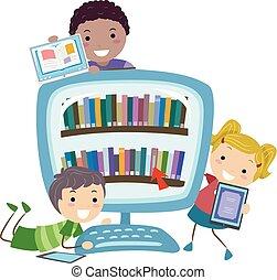 stickman, crianças, digital, biblioteca, livros, ilustração