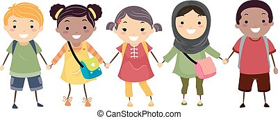 stickman, crianças, escola, diversidade
