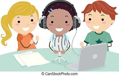 stickman, crianças, escola, podcast, ilustração