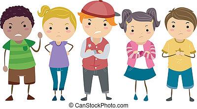 stickman, crianças, escola, valentões