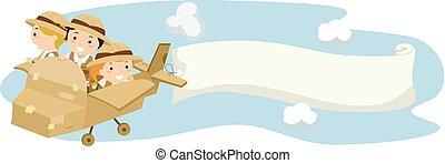 stickman, crianças, explorador, avião, passeio, bandeira