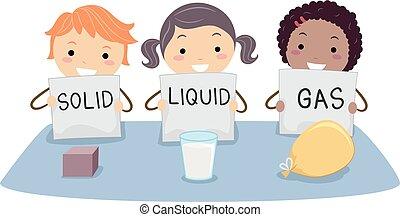 stickman, crianças, física, sólido, gás líquido