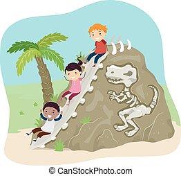 stickman, crianças, fóssil, escorregar