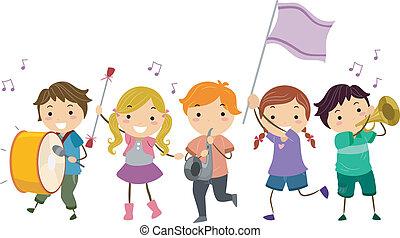 stickman, crianças, faixa marchando