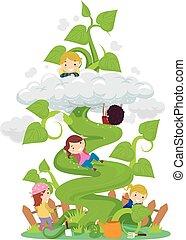 stickman, crianças, fantasia, beanstalk, ilustração