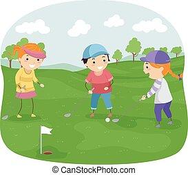stickman, crianças, golfe