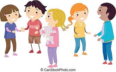 stickman, crianças, habilidades sociais, ilustração