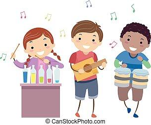stickman, crianças, instrumentos música, ilustração