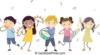 stickman, crianças, instrumentos musicais