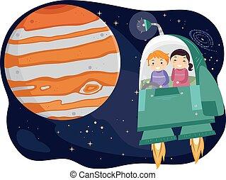 stickman, crianças, júpiter, nave espacial
