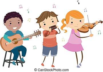 stickman, crianças, jogo, instrumentos, música rural