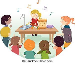 stickman, crianças, jogo, instrumentos