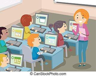 stickman, crianças, laboratório computador, ilustração
