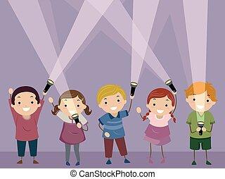 stickman, crianças, lanterna, quarto escuro, ilustração