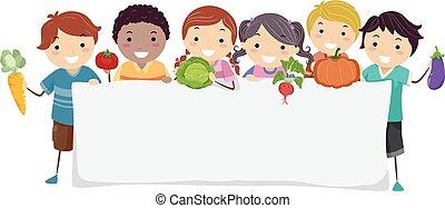 stickman, crianças, legumes, bandeira, ilustração