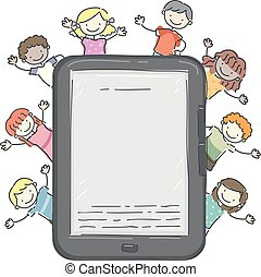 stickman, crianças, leitor, ilustração