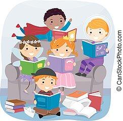 stickman, crianças, leitura, fantasia, livros