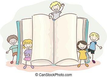 stickman, crianças, livro aberto, ilustração