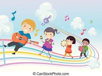 stickman, crianças, música, parada, arco íris, ilustração