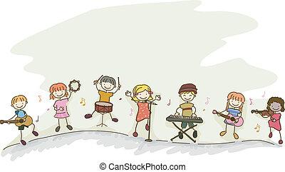 stickman, crianças, música, tocando