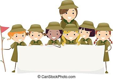 stickman, crianças, menina, escoteiros, bandeira, ilustração