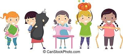 stickman, crianças, meninas, cosendo, equipamento