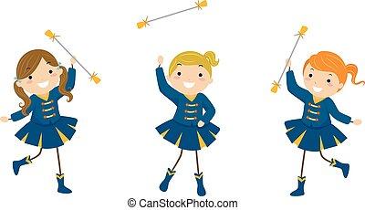 stickman, crianças, meninas, exibição, majorette